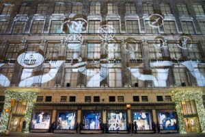 Take in the excitement of the holiday exterior of Saks Fifth Avenue.